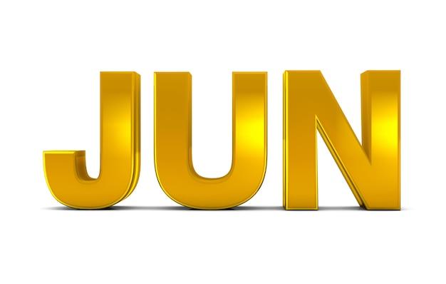 Juin Or Texte 3d Juin Mois Abréviation Isolé Sur Fond Blanc. Rendu 3d. Photo Premium
