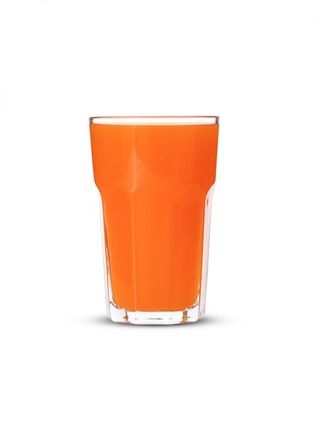 Jus D'orange En Verre Sur Fond Blanc Photo Premium