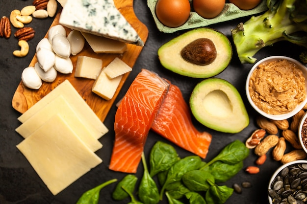 Keto ingrédients alimentaires Photo Premium