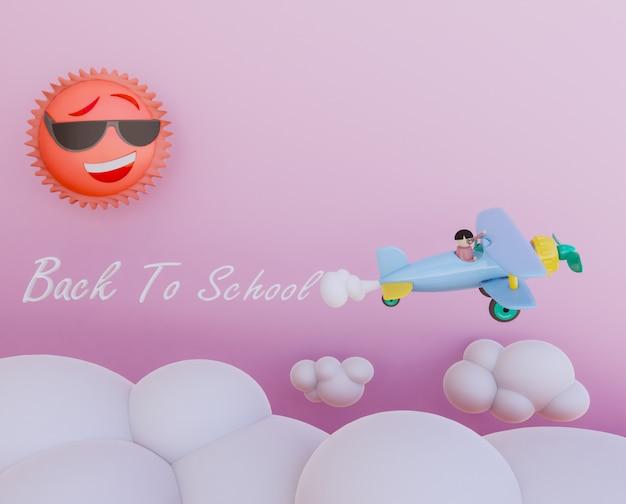 Kid sur avion rendu 3dcartoon Photo Premium