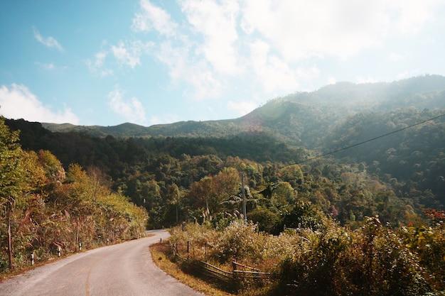 L9abel avertissant d'un virage sur une montagne en thaïlande Photo Premium