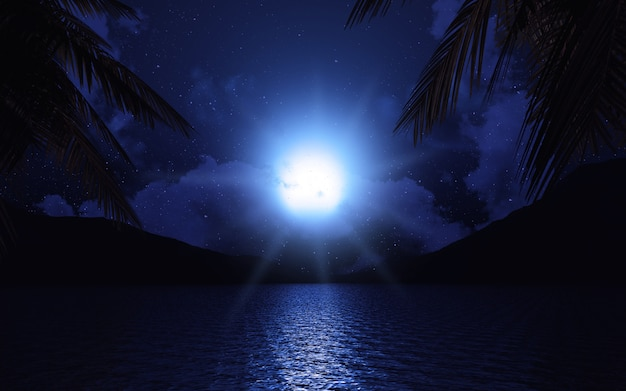 Lac 3d Avec Des Palmiers Au Clair De Lune Photo Premium