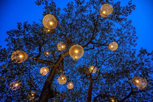 Lampe rustique de style thaïlandais faite avec un poulailler. Photo Premium