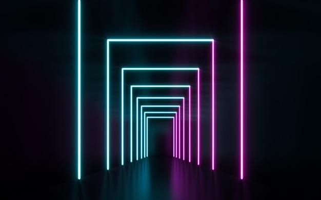 Lampes Néon Bleues Et Violettes Futuristes Sci Fi Rougeoyantes. Rendu 3d Photo Premium