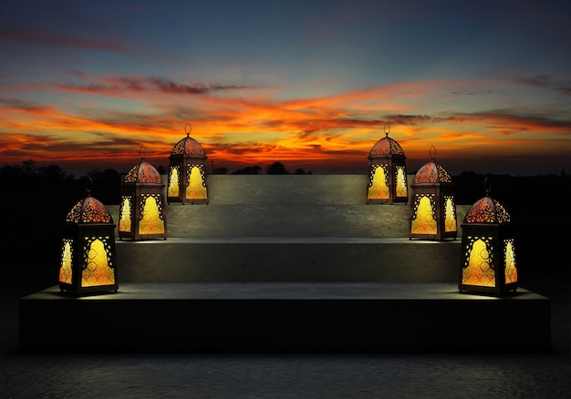 Lanterne colorée illuminée du ramadan, contre le ciel bleu nocturne avec un croissant de lune. Photo Premium