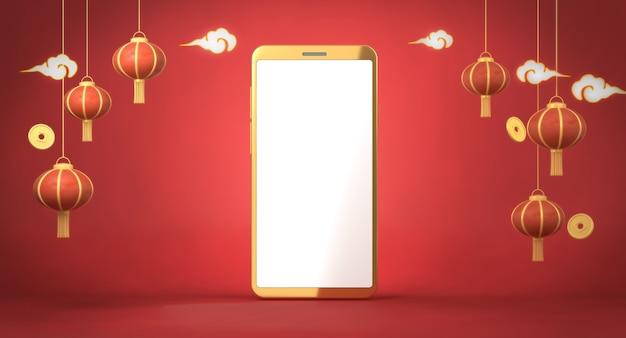 Lanternes Chinoises De Rendu 3d Sur Fond Rouge Photo Premium