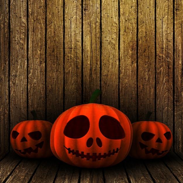 Lanternes halloween grunge 3d sur un fond en bois Photo gratuit