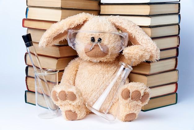 Un lapin jouet à lunettes de protection avec des gobelets et des flacons est assis près d'une pile de livres. Photo Premium