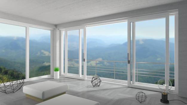 Large Porte Coulissante Blanche Dans Un Chalet De Montagne Photo Premium