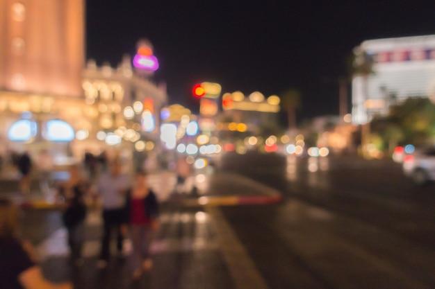 Las vegas nuit d'arrière-plan flou Photo Premium