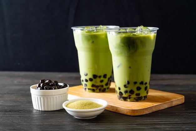 Latte De Thé Vert Avec Bulle Photo Premium