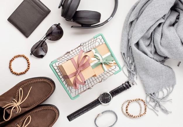 Lay plat d'accessoires pour hommes Photo Premium