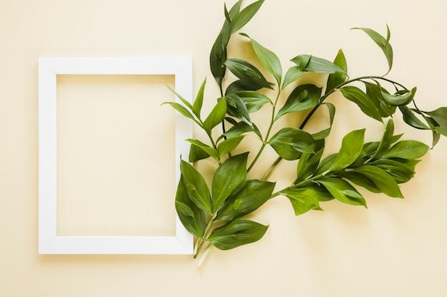 Lay plat de cadre avec décoration de feuilles Photo gratuit