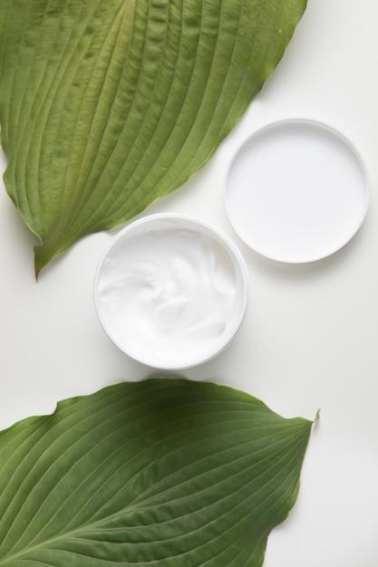 Lay plat de crème et feuilles sur fond blanc Photo gratuit