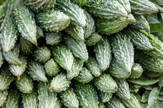 Légumes debout en asie avec des melons amers Photo Premium