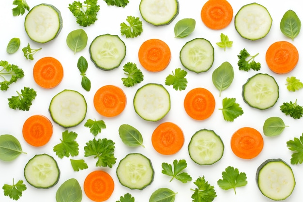 Légumes Et épices Isolés Sur Fond Blanc, Vue De Dessus. Fond D'écran Composition Abstraite De Légumes. Photo Premium