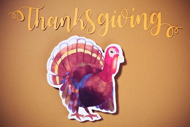Lettrage de thanksgiving avec la turquie Photo gratuit
