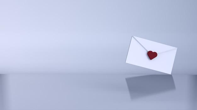 Lettre D'amour, Concept De La Saint-valentin. Rendu 3d Photo Premium