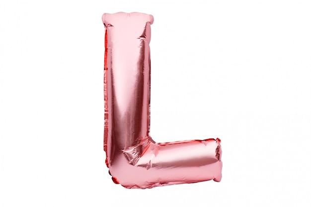 Lettre L Faite De Ballon D'hélium Gonflable Rose Doré Isolé Sur Blanc. Police De Ballon Feuille D'or Rose Partie De L'ensemble De L'alphabet Complet De Lettres Majuscules. Photo Premium