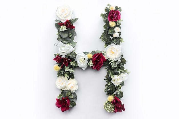 Lettre de fleur h monogramme floral photo gratuit Photo gratuit