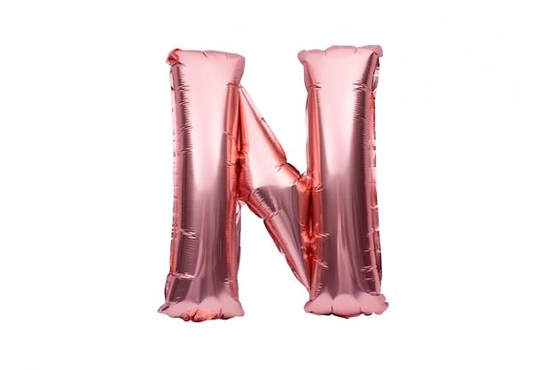 Lettre N En Ballon D'hélium Gonflable Rose Doré Isolé Sur Blanc. Police De Ballon Feuille D'or Rose Partie De L'ensemble De L'alphabet Complet De Lettres Majuscules. Photo Premium