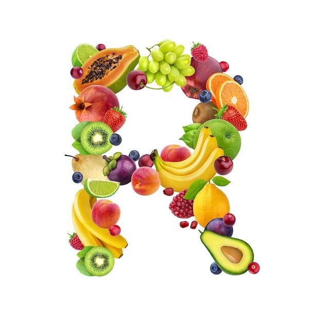 Lettre r composée de différents fruits et baies Photo Premium