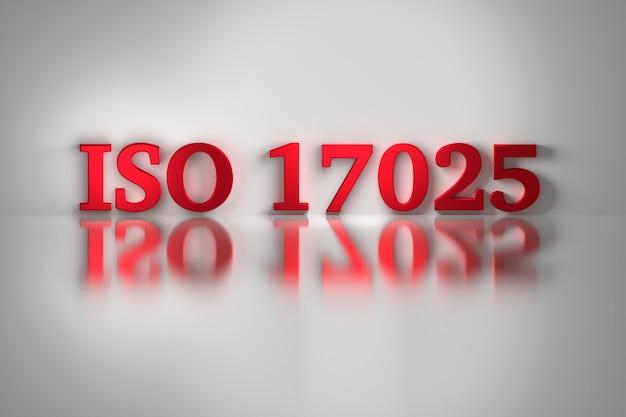Lettres rouges de la norme de qualité iso 17025 pour les laboratoires d'essais et d'étalonnage. Photo Premium