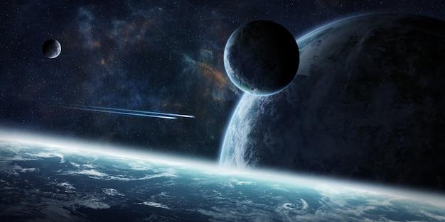 Lever de soleil sur un groupe de planètes dans l'espace Photo Premium