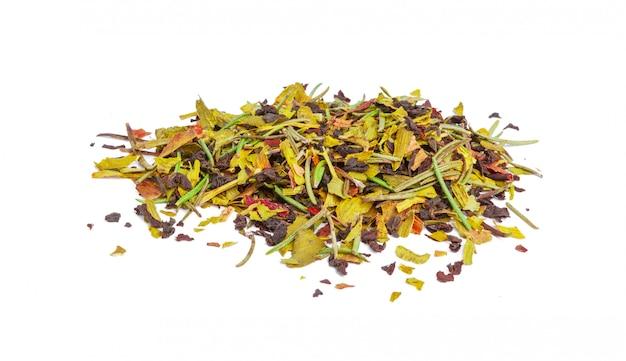 Libre De Tisane Naturelle Faite De Diverses Herbes Séchées En Vrac Isolated On White Photo Premium