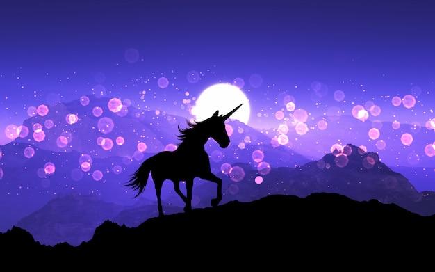 Licorne fantaisie 3d sur un paysage de montagne avec ciel coucher de soleil violet Photo gratuit