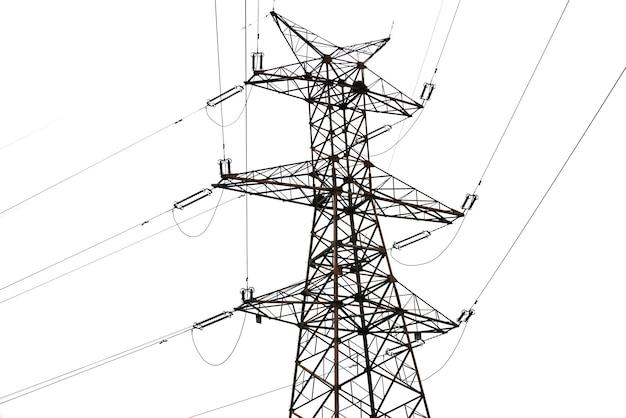 Ligne électrique sur fond blanc Photo Premium