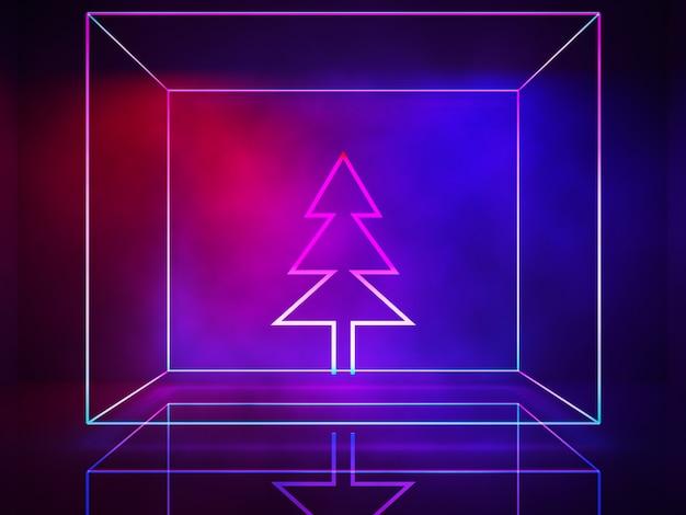 Ligne de néon, lampes d'intérieur, arbre de noël, concept ultraviolet, noël et bonne année Photo Premium