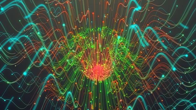 Ligne de particules colorées, lignes rougeoyantes et particules lumineuses dans une animation sombre Photo Premium