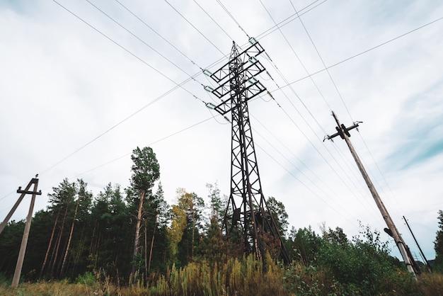 Lignes à haute tension entre les arbres sous le ciel nuageux. Photo Premium