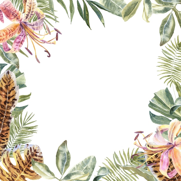 Lili flowers, impression de peau d'animal, feuilles tropicales. bordure fleurs imprimées tigre Photo Premium