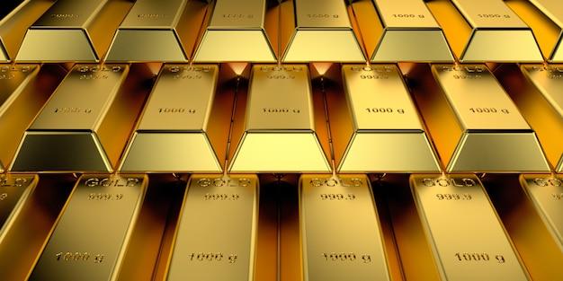 Lingots d'or avec le concept de bannière web. rendu 3d. Photo Premium