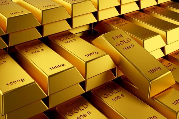 Lingots d'or pour la bannière du site. Photo Premium
