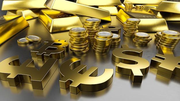 Lingots D'or Et Symboles Monétaires Dorés. Fond De Bourse, Concept Bancaire Ou Financier. Photo Premium