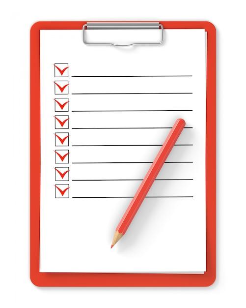 Liste de contrôle. presse-papiers rouge et crayon isolé sur blanc Photo Premium