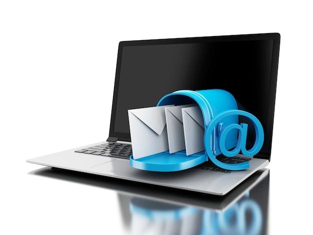Livraison du courrier 3d à partir d'un ordinateur portable. Photo Premium
