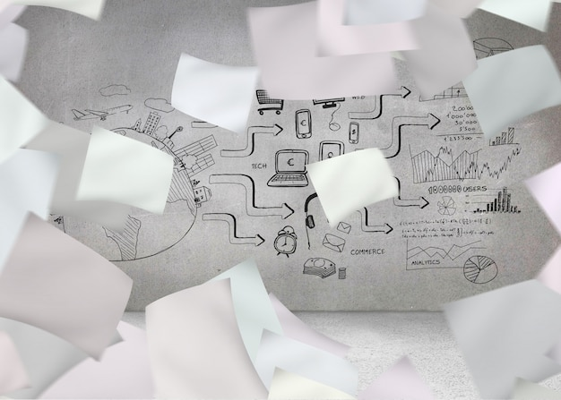 Livre blanc devant un mur gris avec graphique Photo Premium
