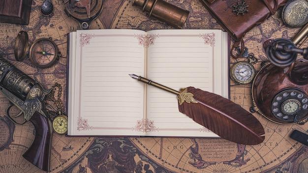 Livre De Journal De Pen Quill On Photo Premium