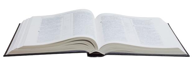 Livre Ouvert, Bible, Sur Un Blanc Isolé Photo Premium