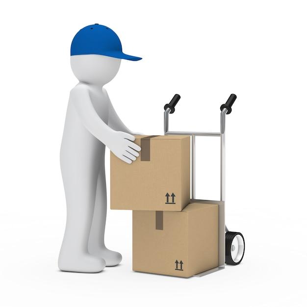 Livreur avec capuchon bleu boîtes de déménagement Photo gratuit