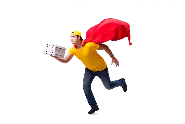 Livreur de pizza de super héros isolé sur blanc Photo Premium