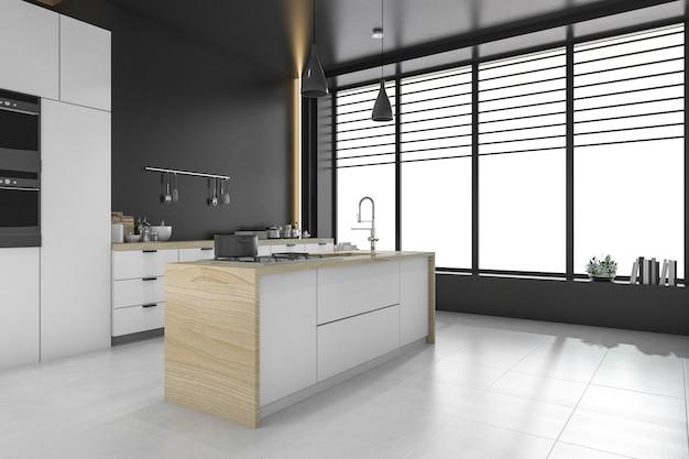 Loft moderne noir cuisine et salle à manger Photo Premium