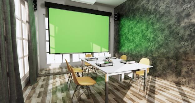 Loft office business business - belle salle de réunion et table de conférence au style moderne. rendu 3d Photo Premium