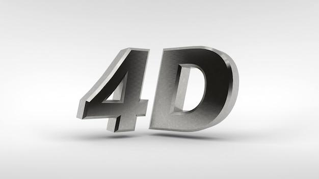 Logo 4d en métal isolé sur fond blanc avec effet de reflet Photo Premium