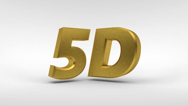 Logo gold 5d isolé sur blanc avec effet de reflet Photo Premium