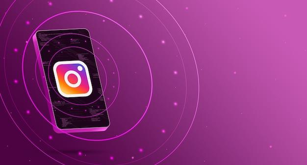 Logo Instagram Sur Téléphone Avec Affichage Technologique, Rendu 3d Intelligent Photo Premium
